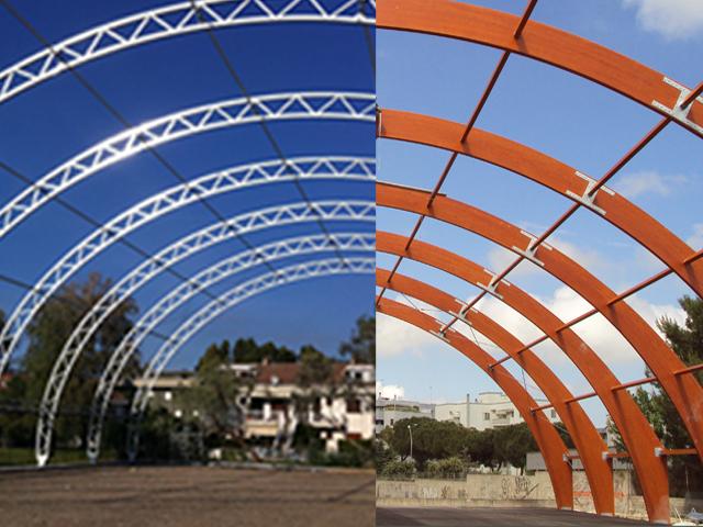Tensostrutture in legno lamellare e acciaio